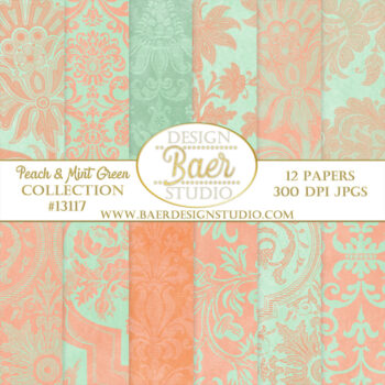 Digital Scrapbooking Paper Peach and Green