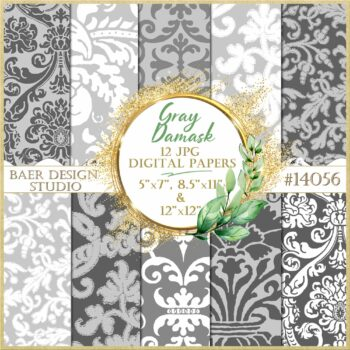 Gray Damask Design Paper