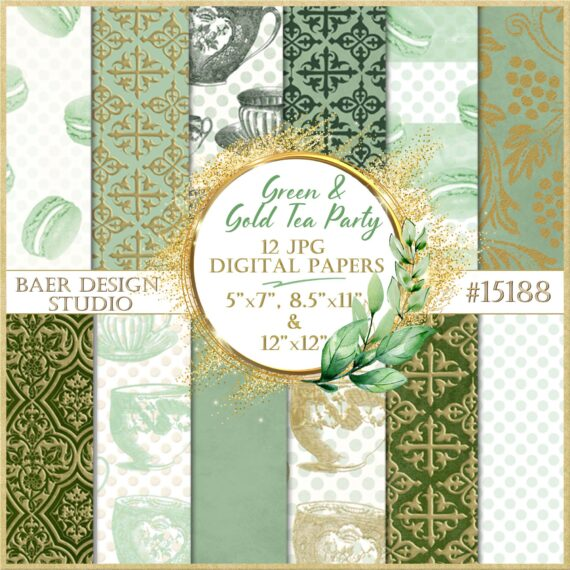 green and gold embossed foil digital paper