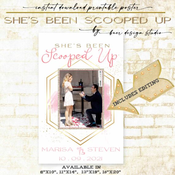 She's Been Scooped Up Bridal Shower Sign