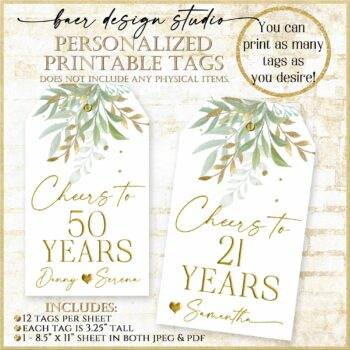 sage and gold party decorations tags