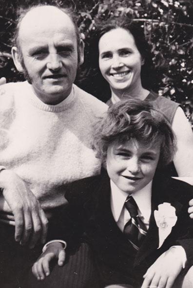 Colum with parents 1972