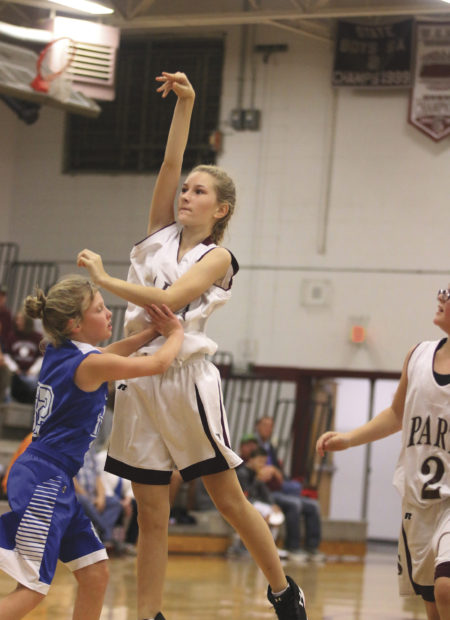 Brianna Powell takes a shot against Aldardt. Powell finished Monday night's game with 4 points.