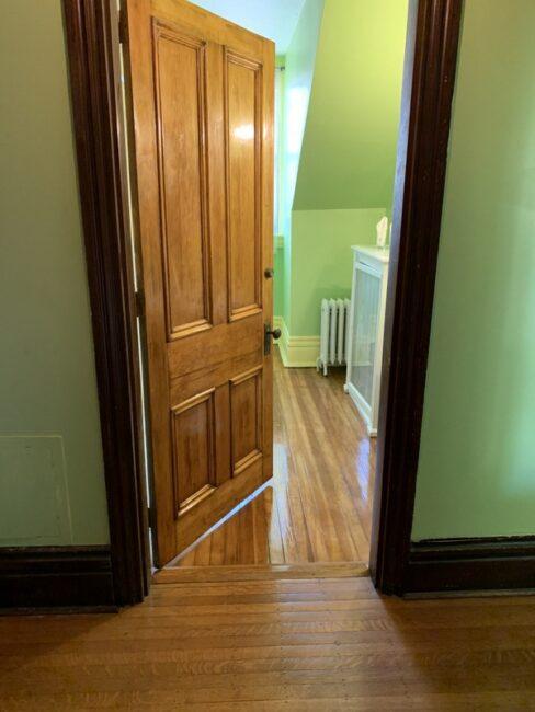 Lady Palm bathroom floor and door