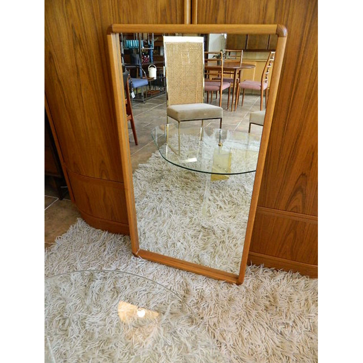 Danish Modern Designer Mirror with Two-Toned Corners