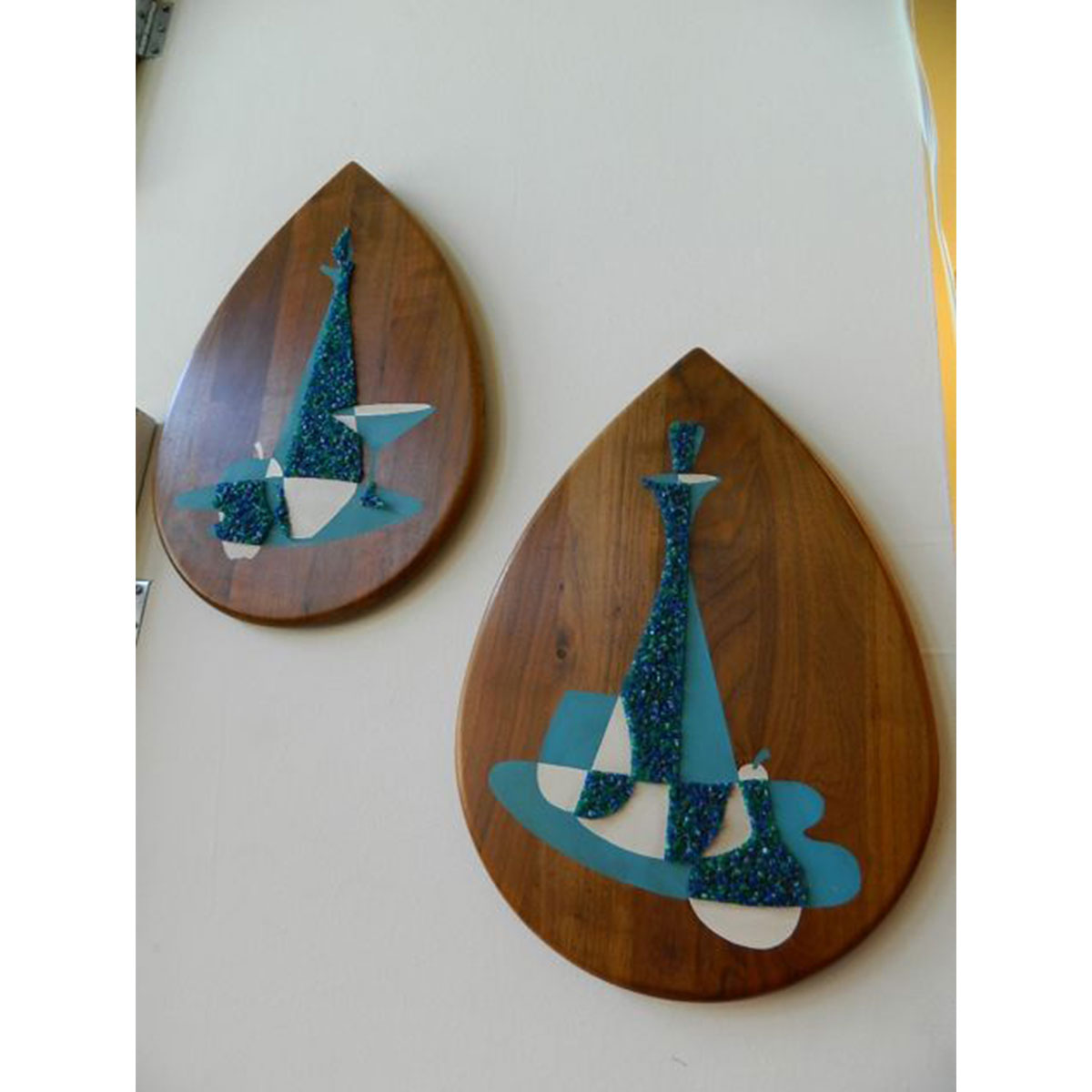 Pair Teardrop Walnut Decorative Plaques
