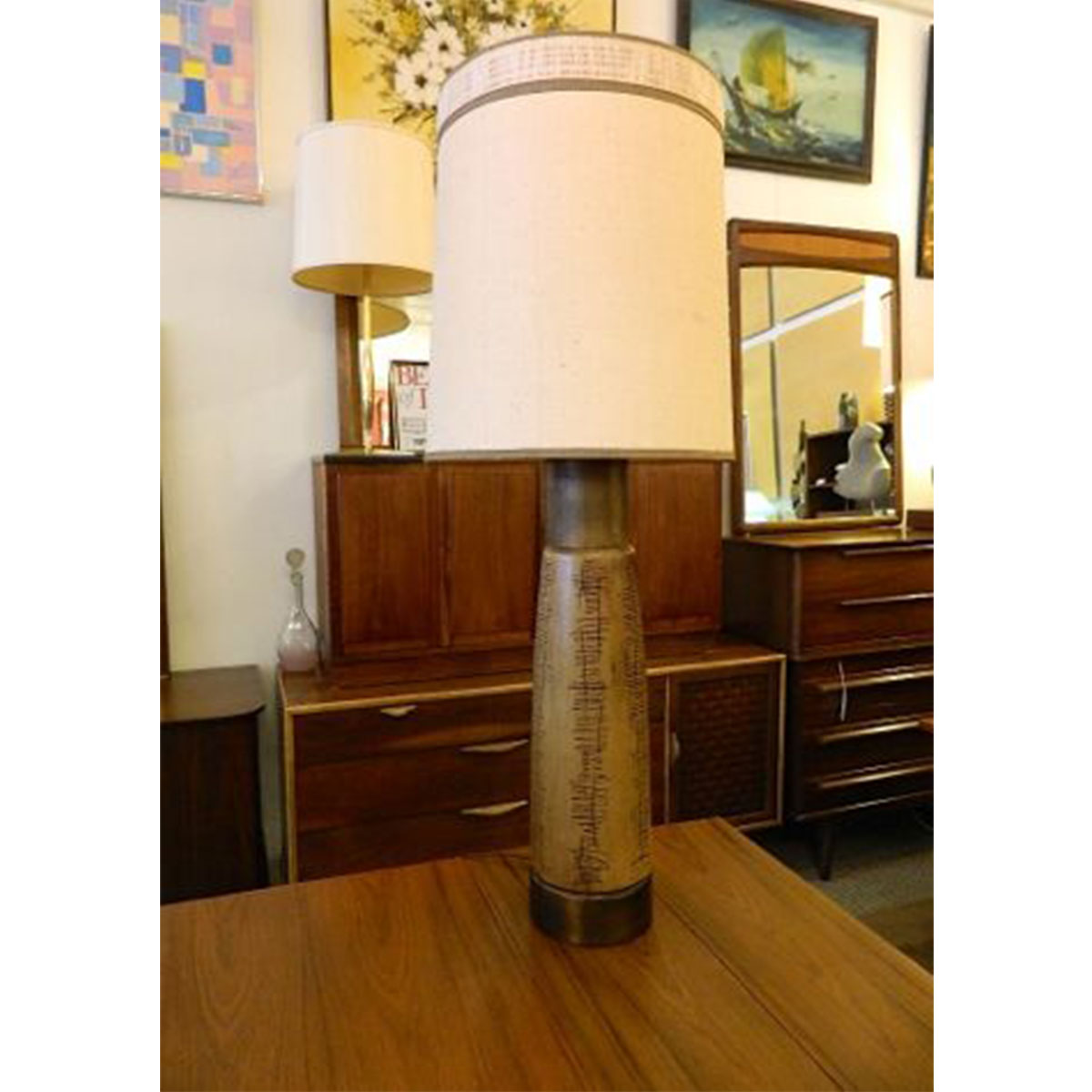 Martz Style MCM Tall Textured Lamp