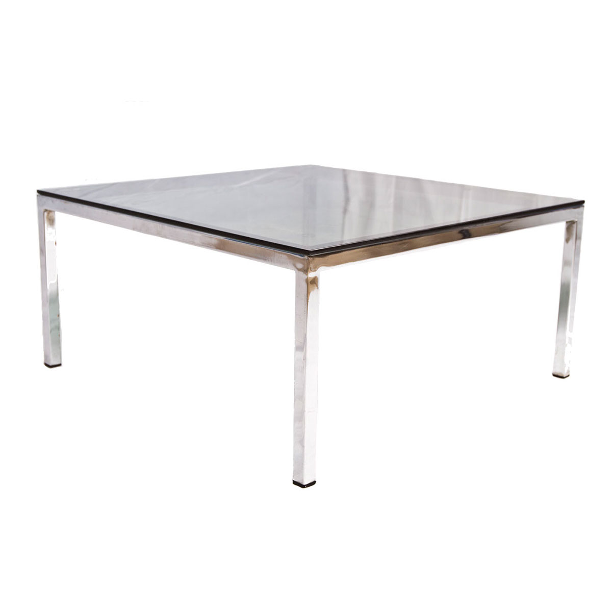 1970's Designer Smoked Glass & Chrome Square Coffee Table