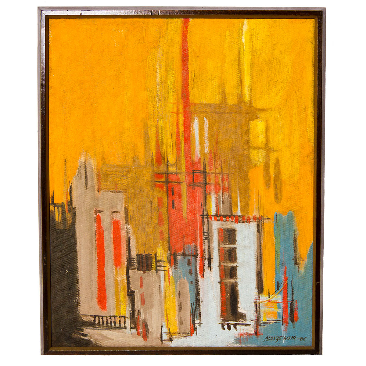 "1965 Abstract Oil Signed Kloszewski — ""City Sunset"""