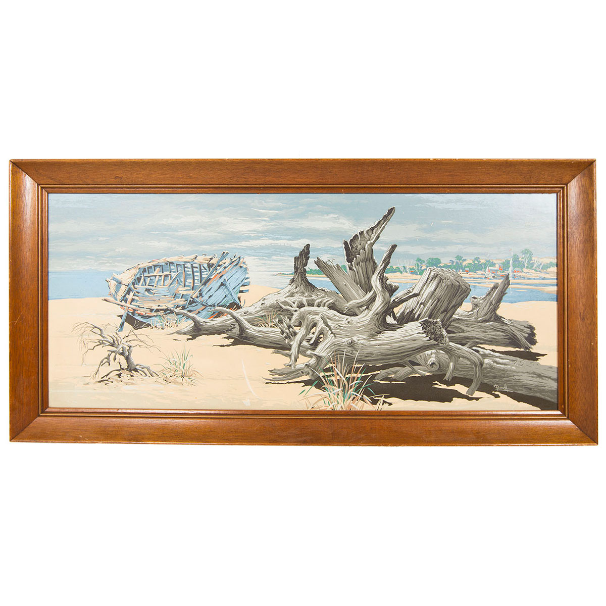 Large Vintage Beach Scene Artwork