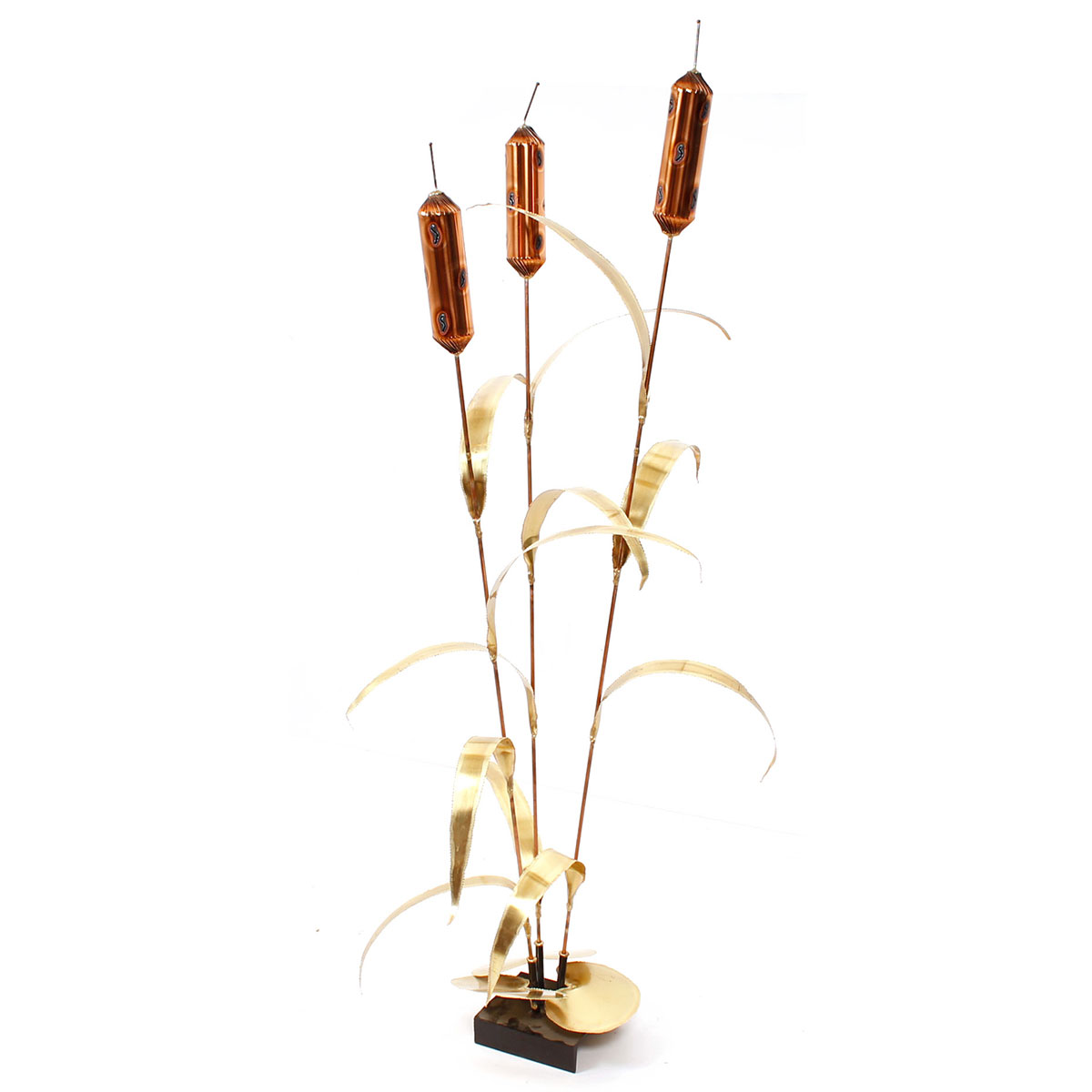 Tall Decorator Brass Floor Sculpture — Cattails