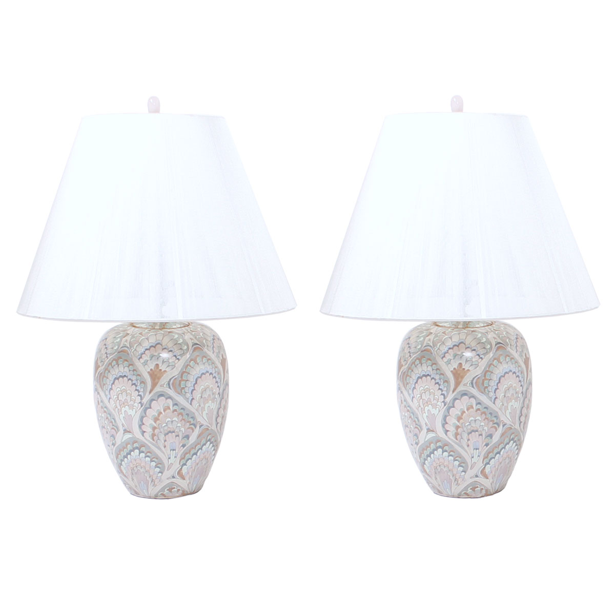 Pair of Ceramic Lamps in Pastel Marbelized Pattern