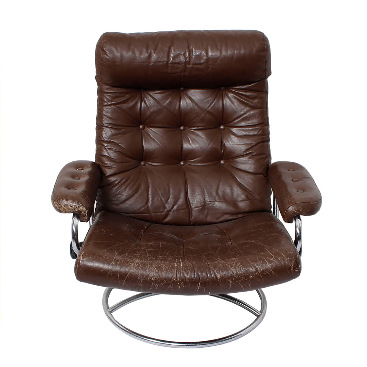 Ekornes Stressless Norwegian Brown Leather Recliner w/ Ottoman