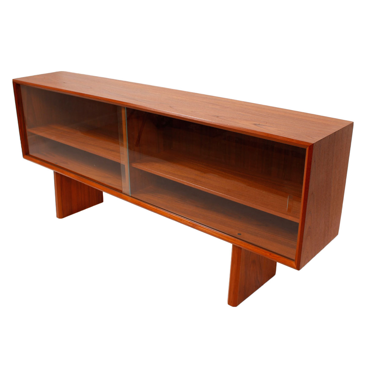 Low Danish Modern Teak Sideboard / Hutch Top with Sliding Glass Doors