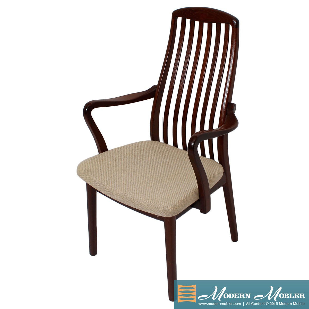 Set of 6 (2 Arm + 4 Side) Danish Modern Slatback Dining Chairs