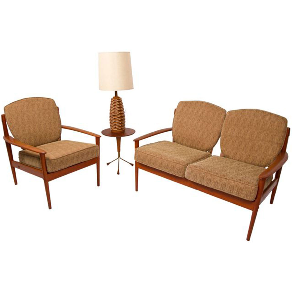 Grete Jalk Danish Modern Teak Settee & Lounge Chair Set