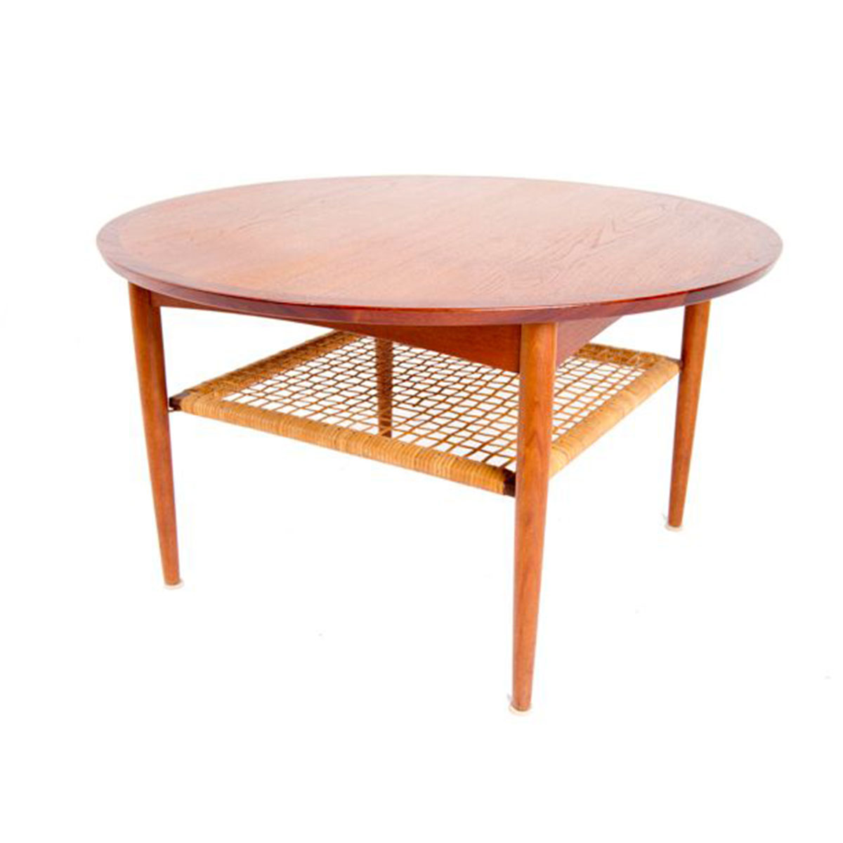 Round Danish Modern Teak and Cane Coffee Table