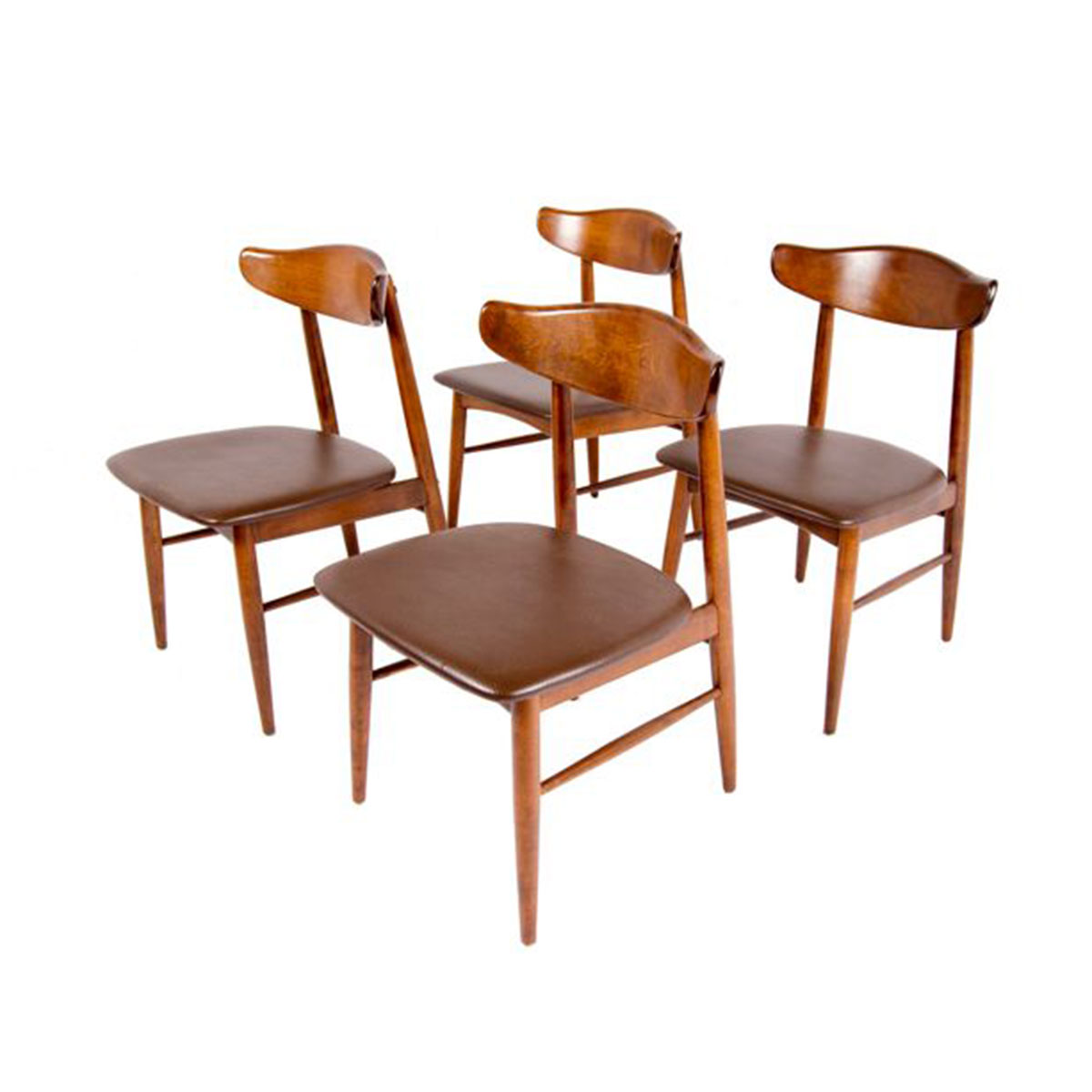 Just Reupholstered in Dark Brown – Set of 4 MCM Walnut Dining Chairs