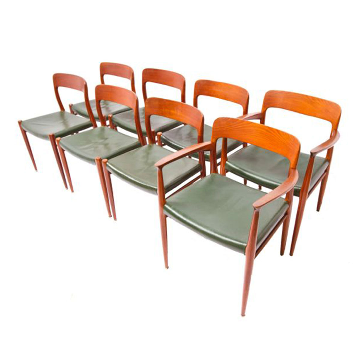 Set of 8 Niels O. Møller 75 Danish Teak Dining Chairs with Original Green Leather