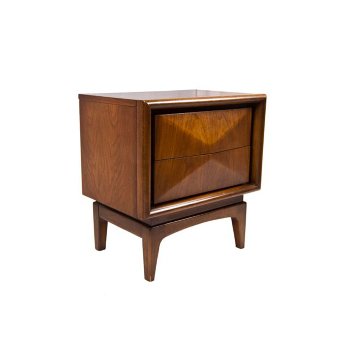 Pair Architectural 2-Drawer Diamond Night Stands