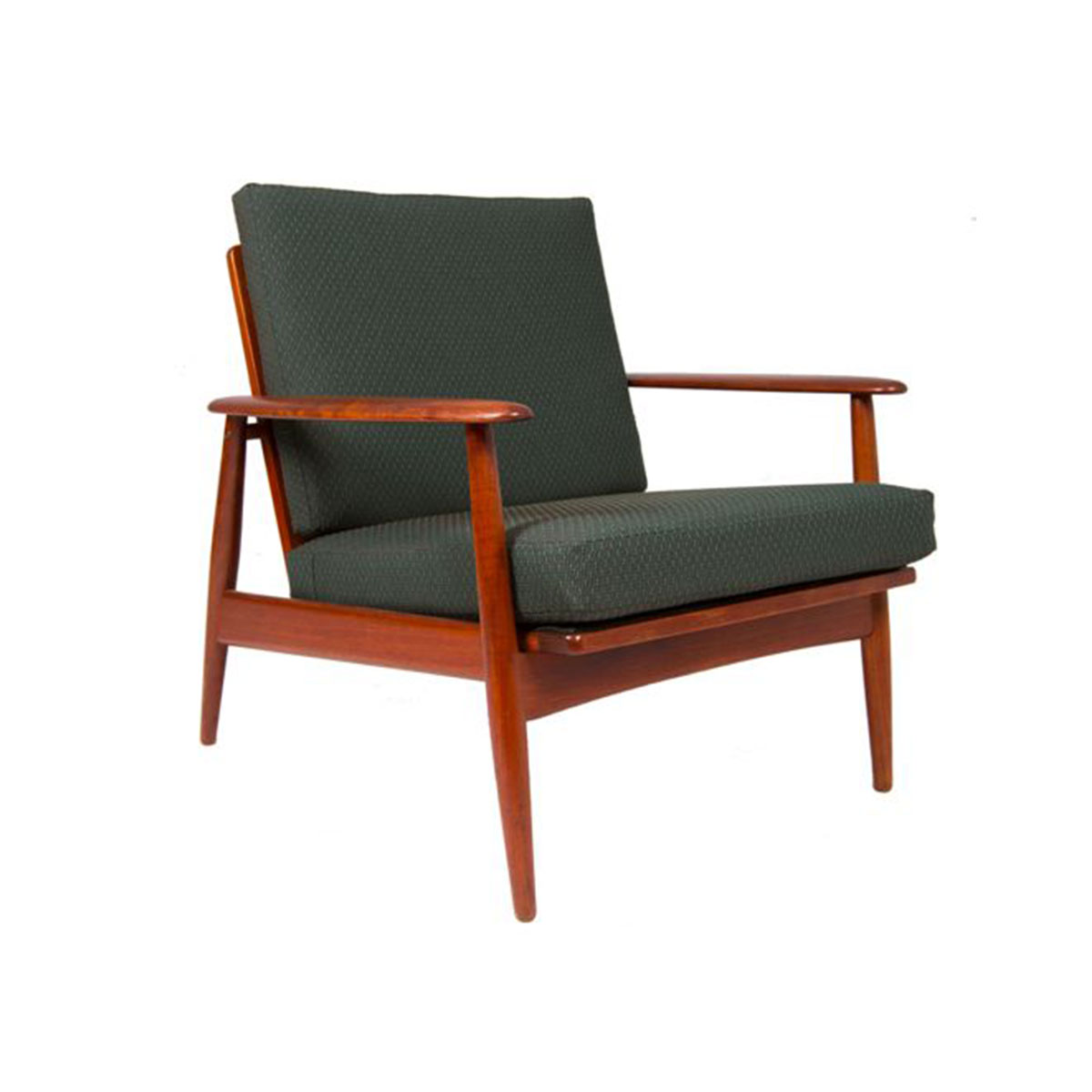 Danish Modern Walnut Lounge Chair with NEW UPHOLSTERY
