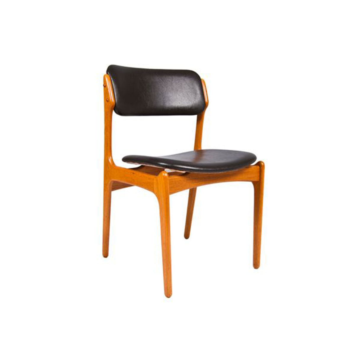Set of 6 Designer Danish Modern Teak & Leather Dining Chairs by Erik Buch
