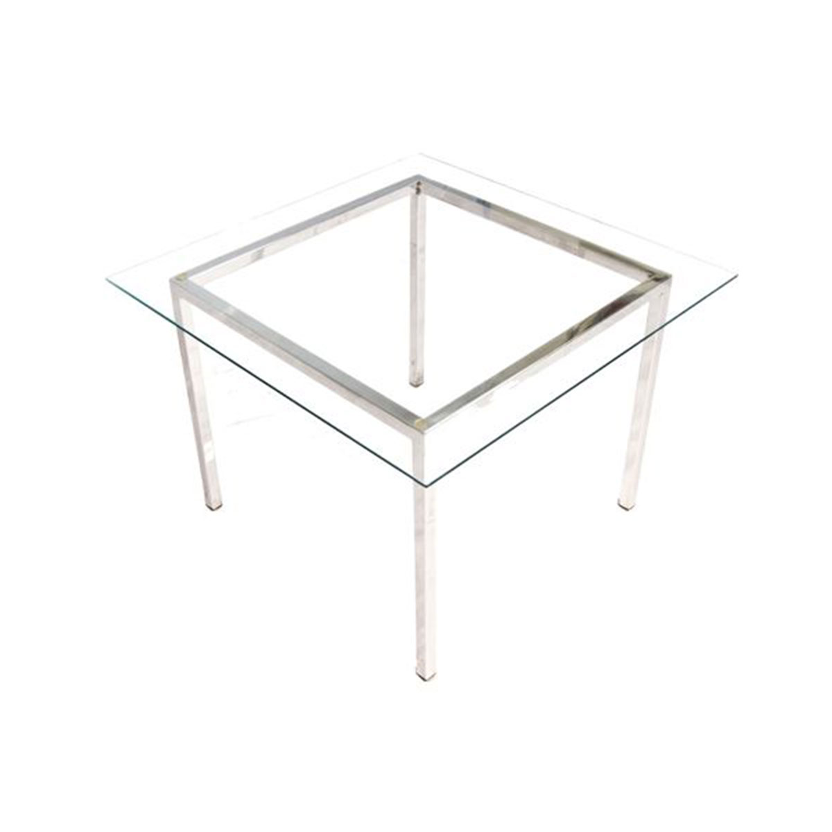 1970's Designer Glass & Chrome Square Coffee Table Attributed to Milo Baughman