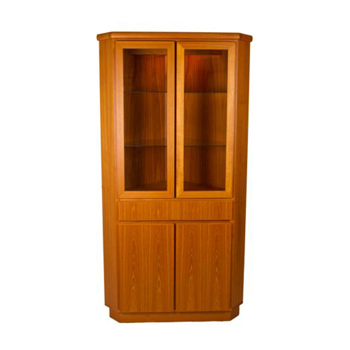 Unique Danish Modern Teak Lighted CORNER Display / Storage Cabinet