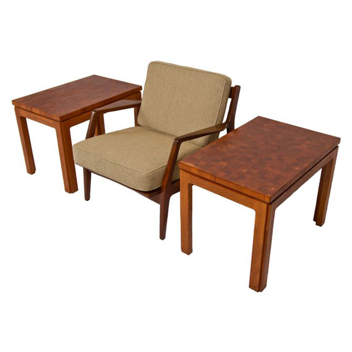 Pair of Solid Teak Parquet Side Tables