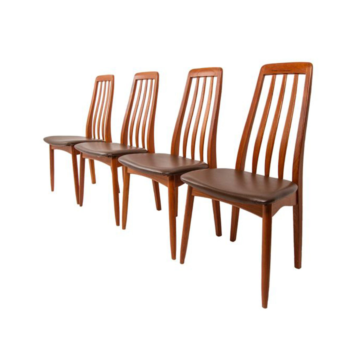 Set of 4 Slim Teak Danish Modern Tall Dining Chairs