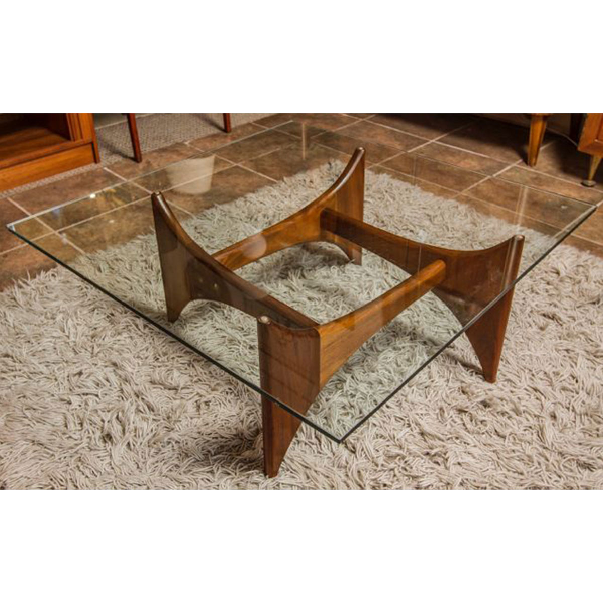 Adrian Pearsall Glass Square Coffee Table