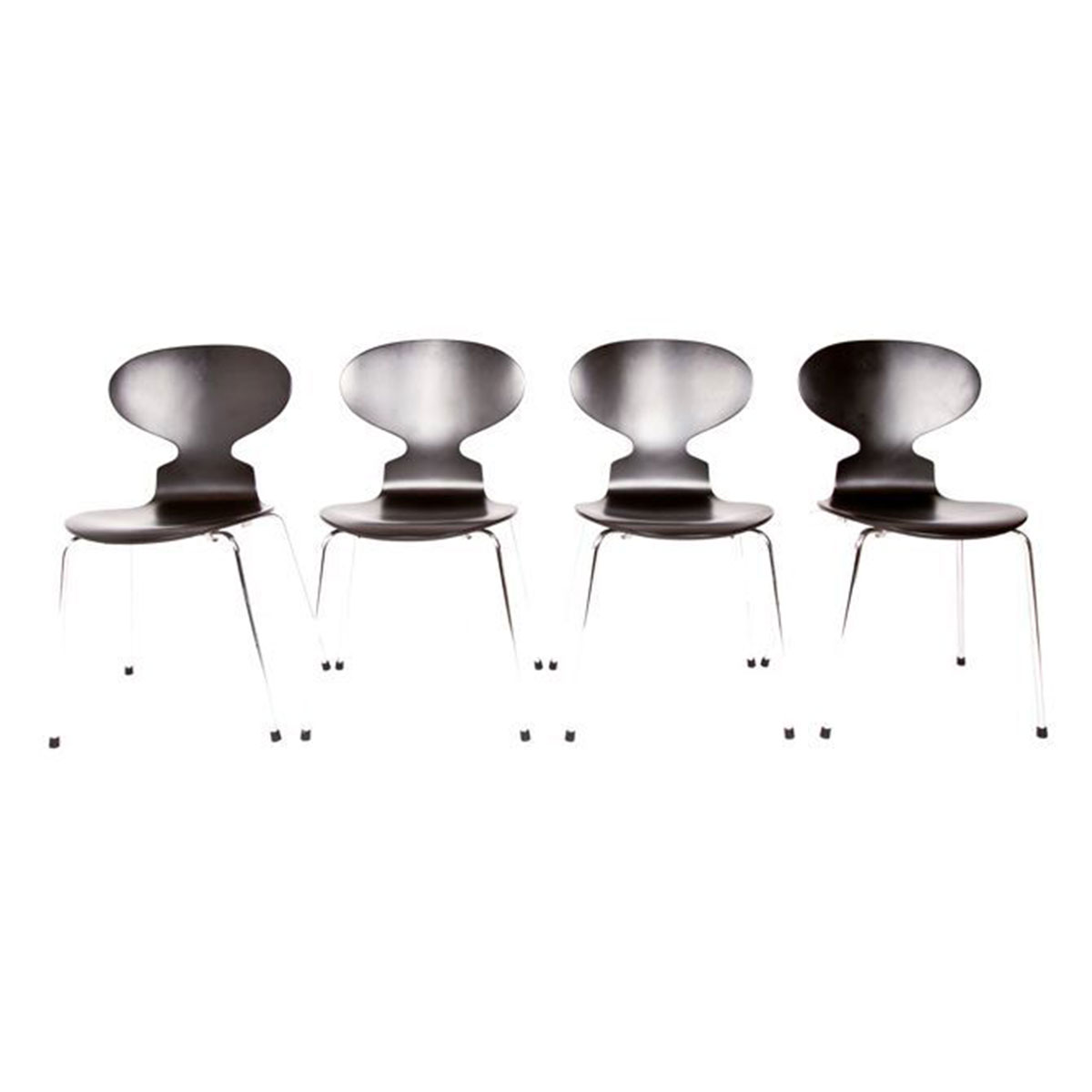 Set of 4 Black Arne Jacobsen Ant Chairs