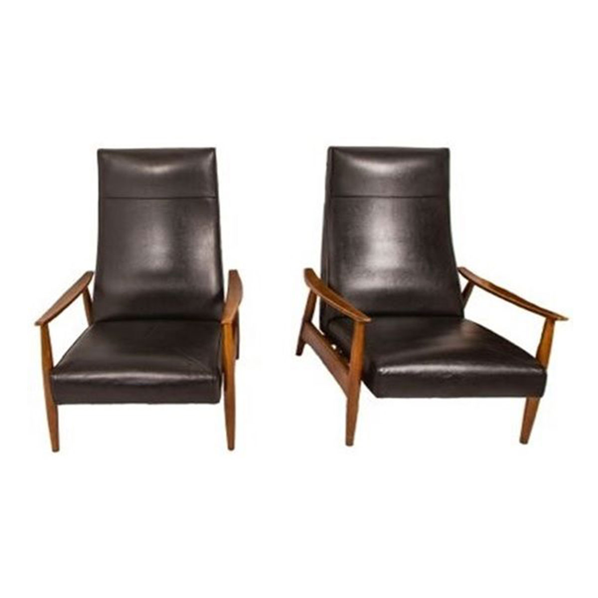 Pair Milo Baughman for Thayer Coggin Reclining Lounge Chairs