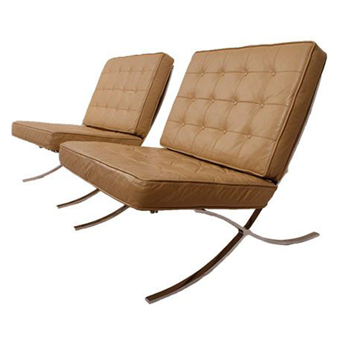 Pair of Selig Barcelona Style Leather & Chrome Lounge Chairs