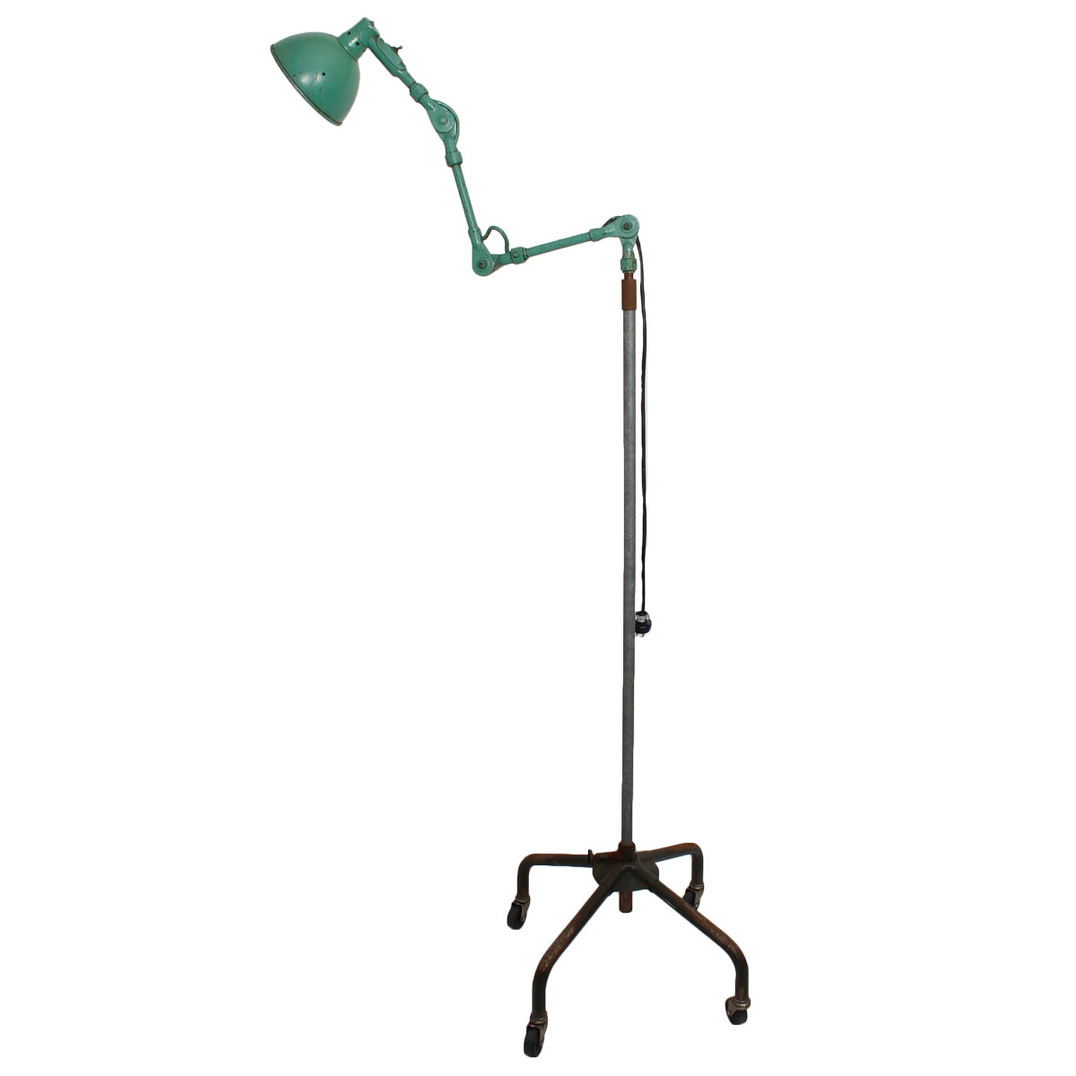 Vintage Industrial Floor Lamp on Casters