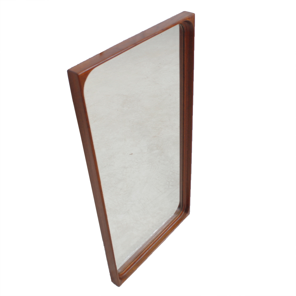 Danish Modern Teak Compact Mirror with Curved Edges