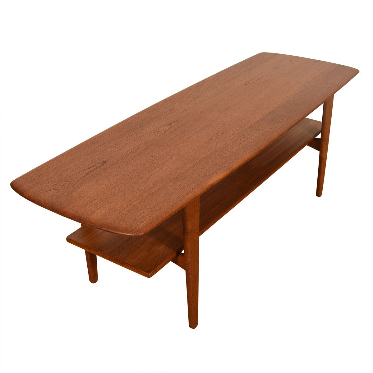 Sculpted Danish Modern Teak Coffee Table w/ Shelf