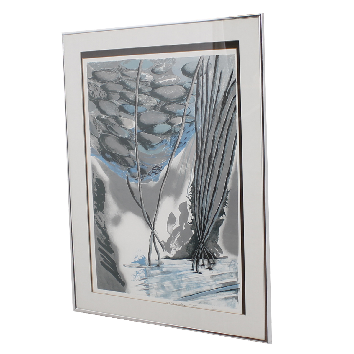 Mid Century Signed Abstract Forest Artwork 1/12