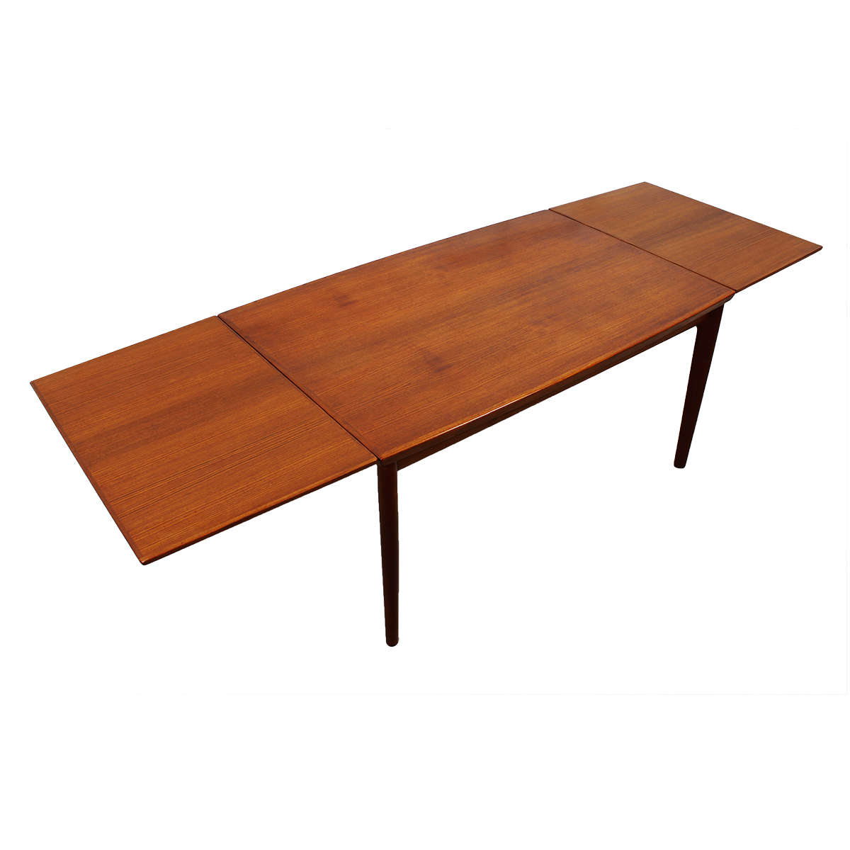 Early Danish Teak Expanding Dining Table w/ Tapered Hidden Leaves