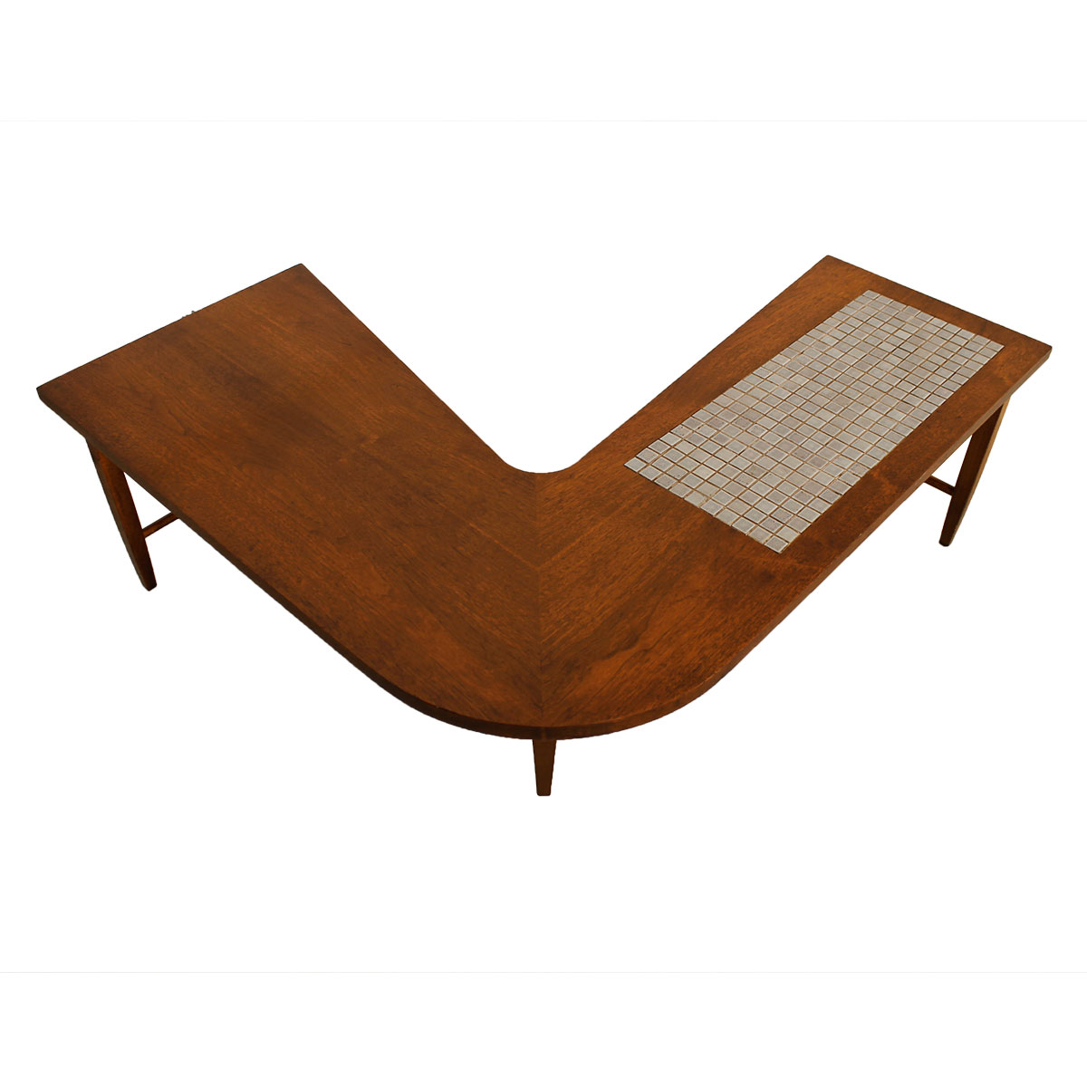 Mid Century Modern Walnut 'Boomerang' Coffee Table w/ Tile Insert