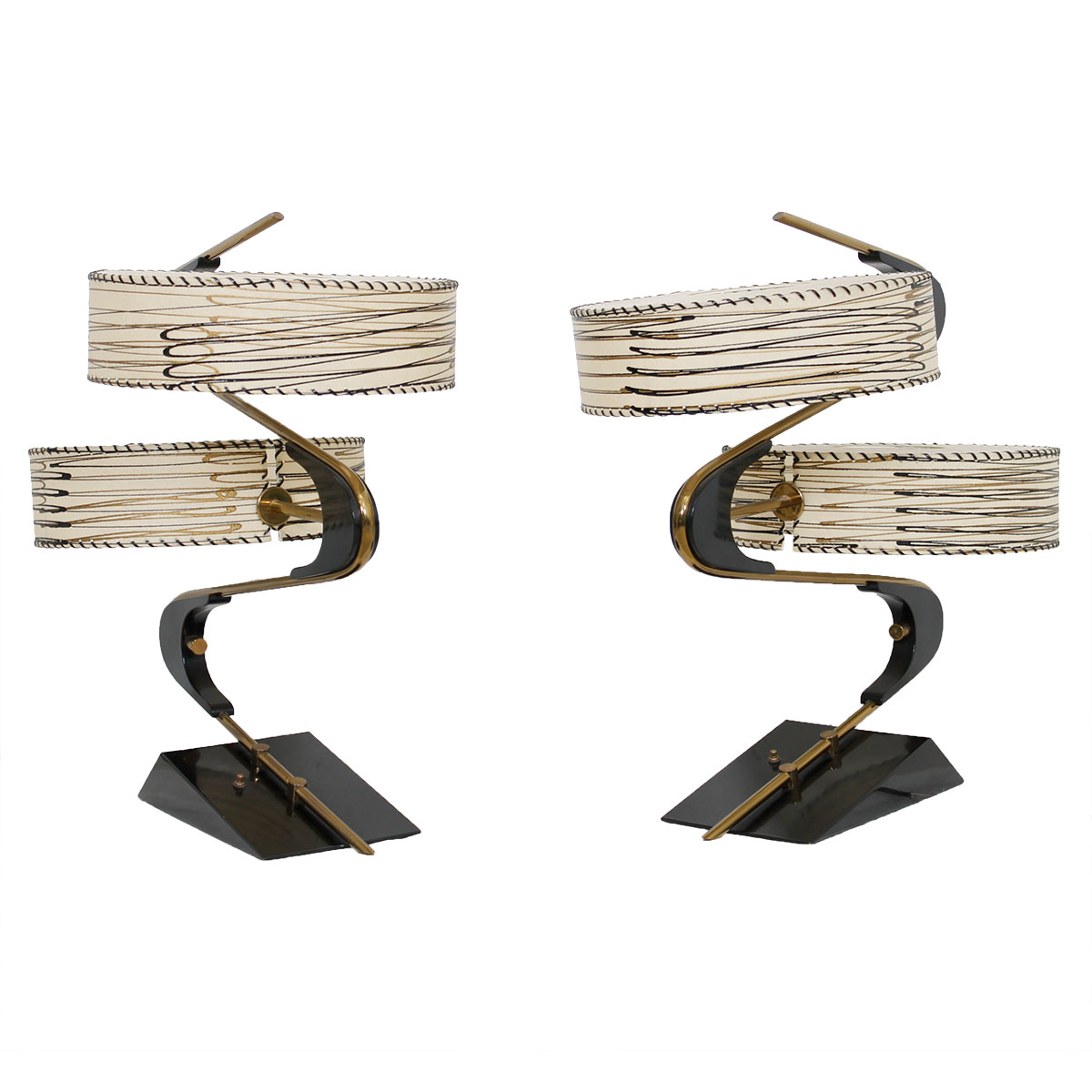 Rare Duo of 50's Sculptural Abstract Table Lamps w/ Double Fiberglass Shades