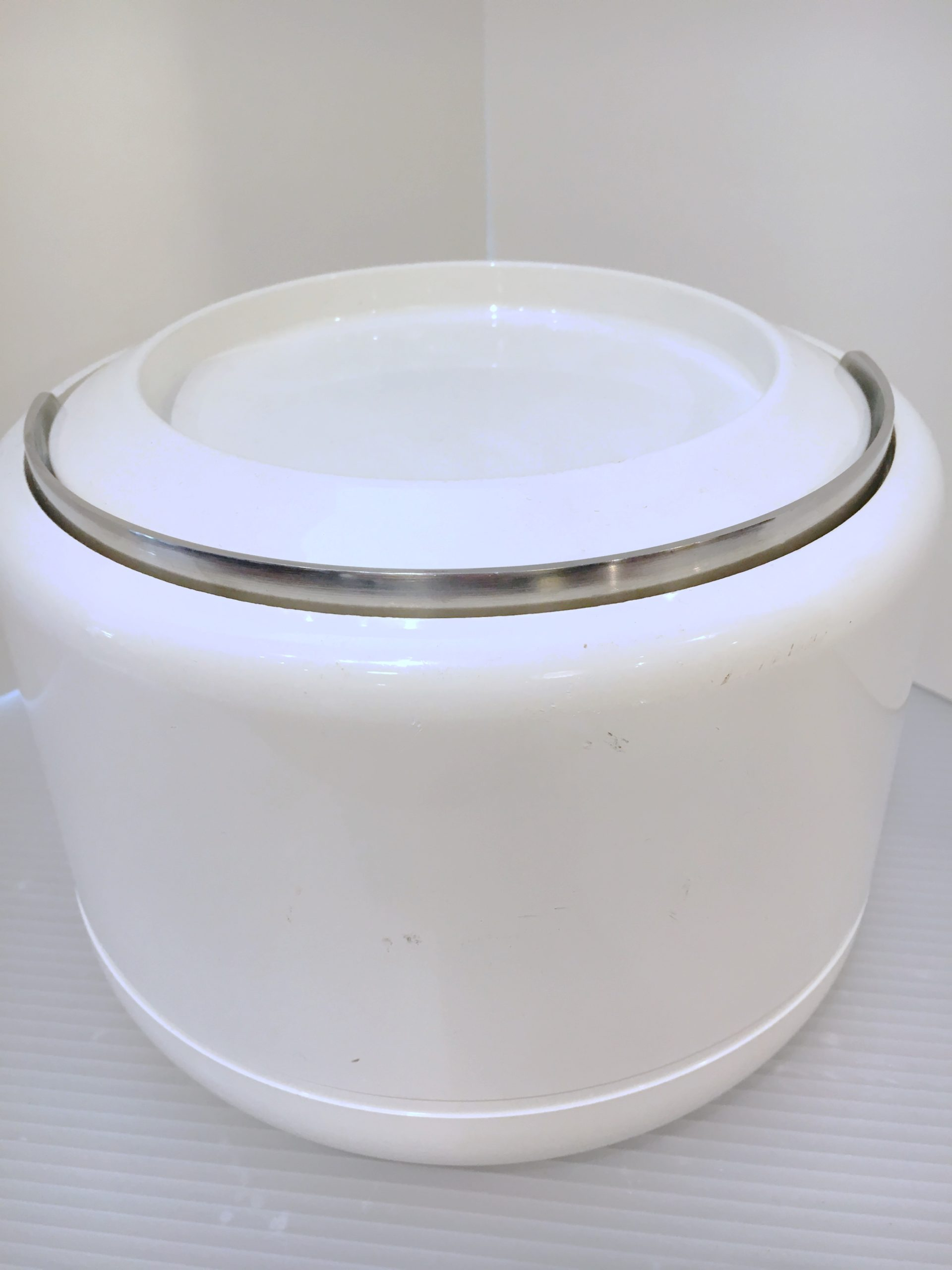 70s Mod White Acrylic Ice Bucket by Stelton, Denmark