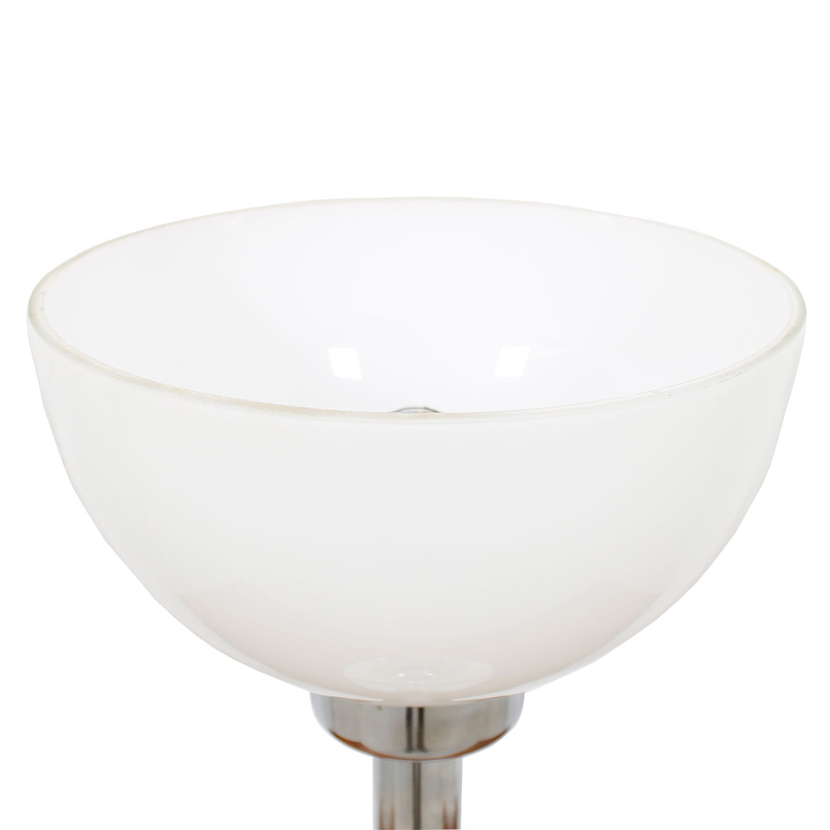Chrome & White Glass Bowl-Shade Table Lamp