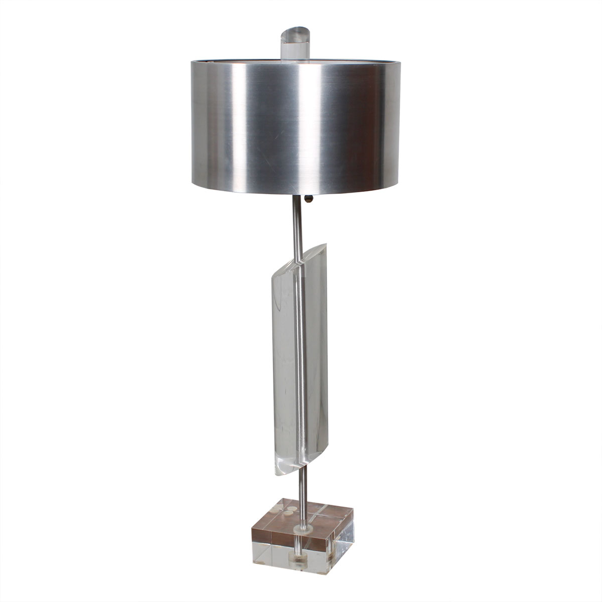 Modern Lucite Lamp with Brushed Aluminum Shade