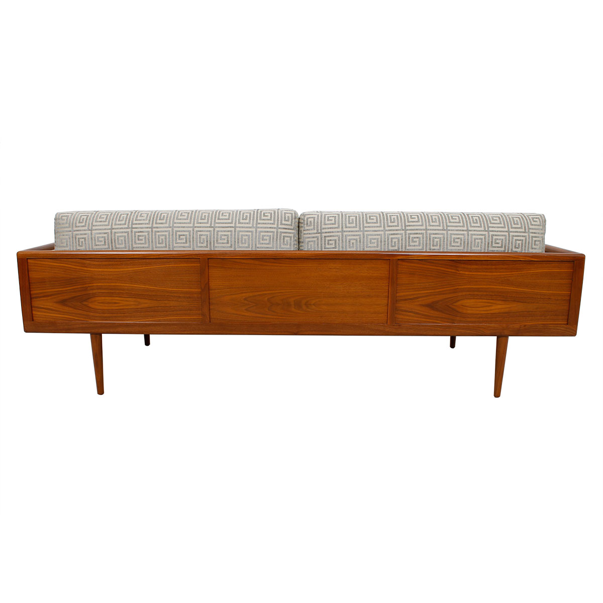 Luxurious Mel Smilow Walnut Sofa w/ Greek Fret Pattern Upholstery