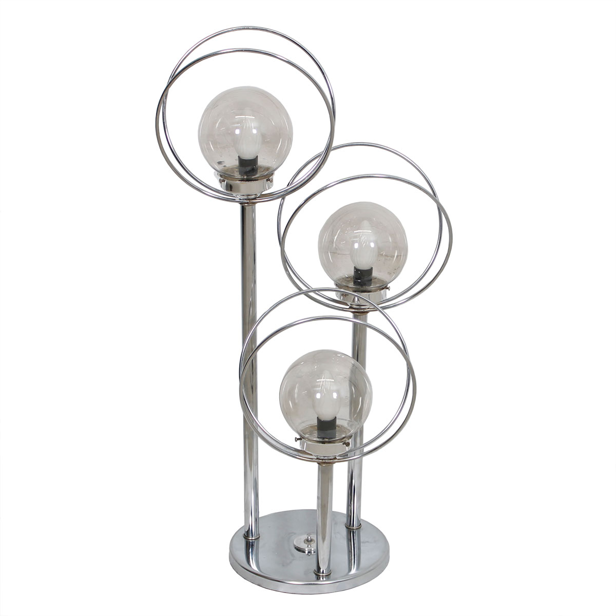 Large Chrome Space Age Orbs & Rings 3 Tier Table Lamp