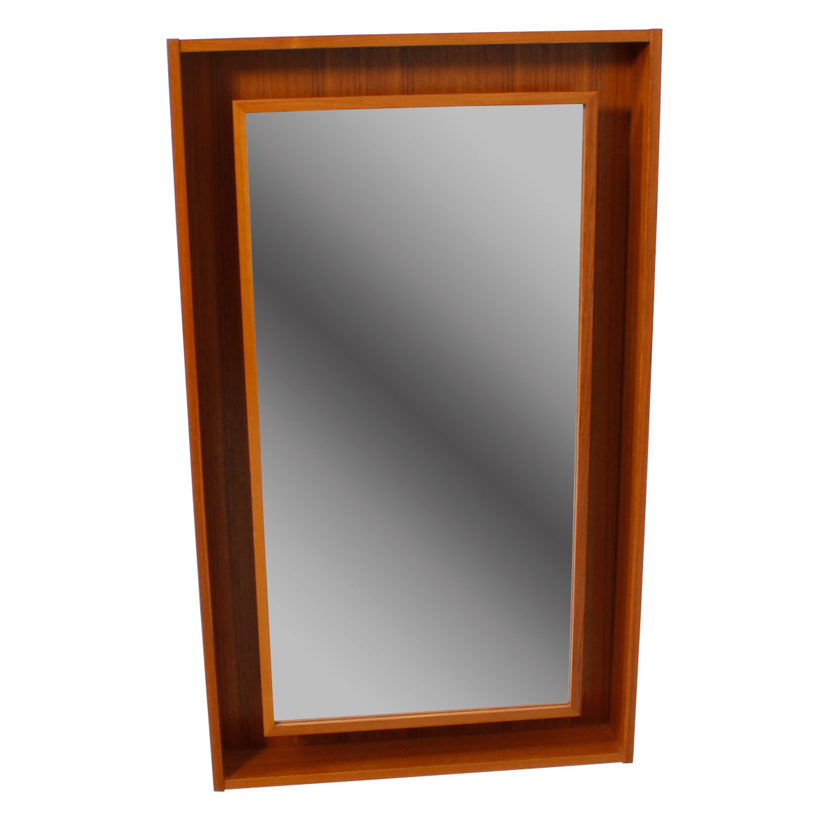 Danish Modern Teak Lighted Mirror