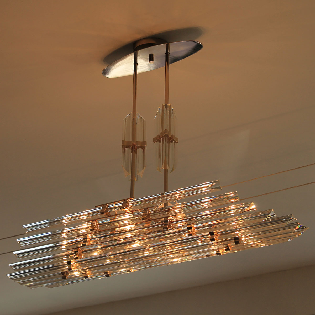 Stunning Hollywood Regency Glass Chandelier by Camer of Murano, Italy