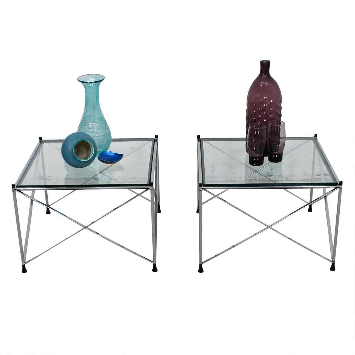Modernist Pair of Chrome & Glass X-Base End Tables