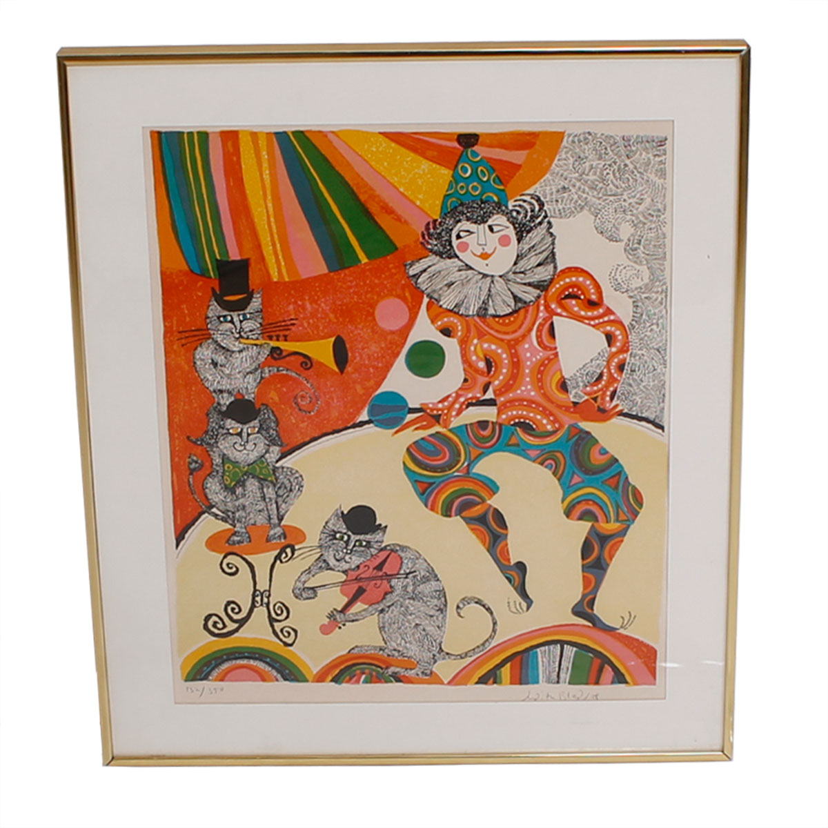 Limited Edition Serigraph 'Clown with Cats'